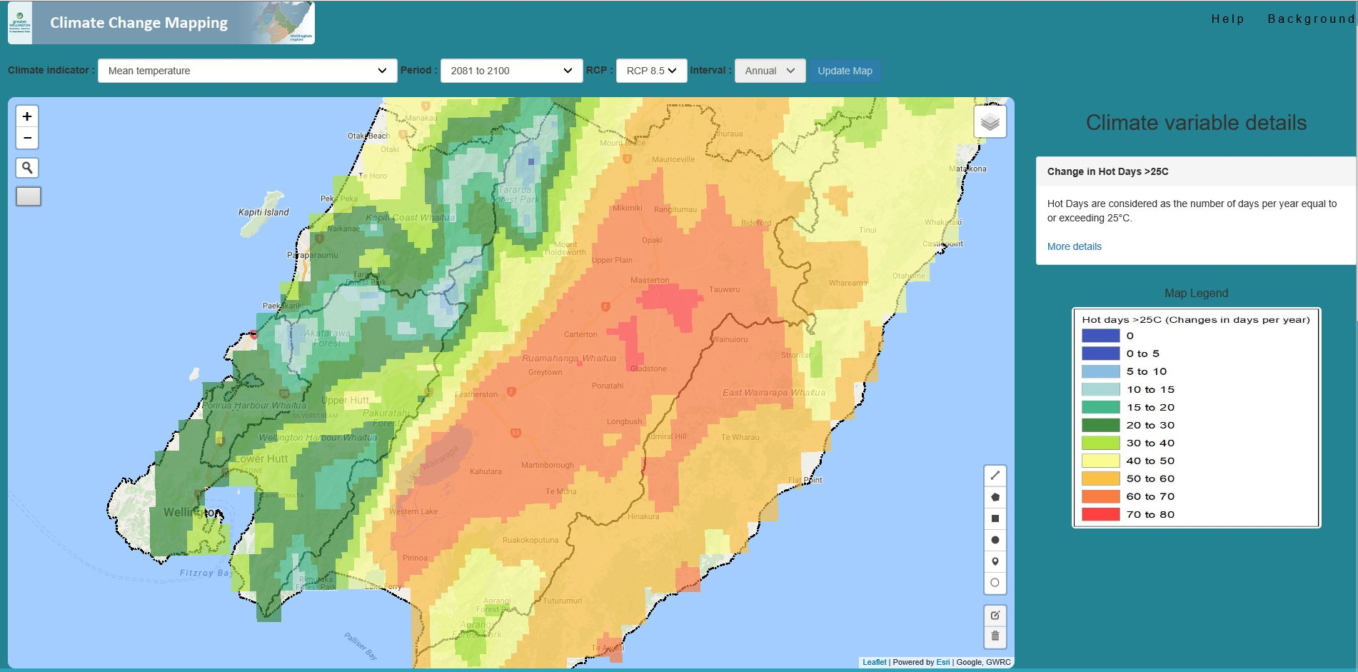 Climate Change mapping - Wellington Region